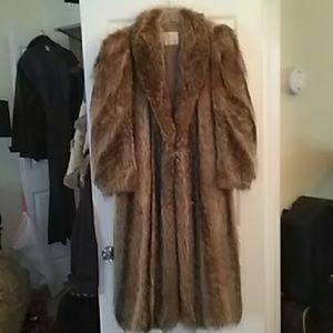 True Vintage Raccoon Fur Full Length Coat, Nice!